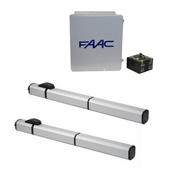 FAAC S450H Hydraulic 24V Swing Gate Opener Dual Kit Includes: 2 - S450H CBAC Operator, E024U Control Board, 14X16 Enclosure, Power Supply And Batteries